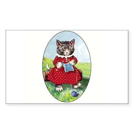 Knittting Kitty Rectangle Sticker