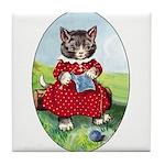 Knittting Kitty Tile Coaster