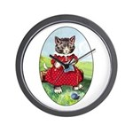 Knittting Kitty Wall Clock