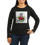 Knittting Kitty Women's Long Sleeve Dark T-Shirt