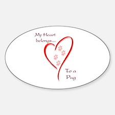 Pug Heart Belongs Oval Decal