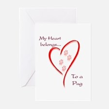 Pug Heart Belongs Greeting Cards (Pk of 10)