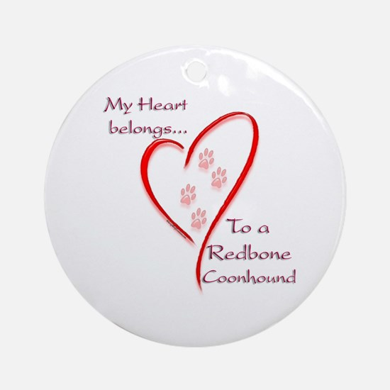 Redbone Heart Belongs Ornament (Round)