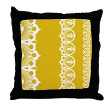 Doily Mustard Throw Pillow