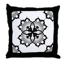 Doily Black Throw Pillow