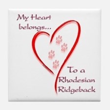 Ridgeback Heart Belongs Tile Coaster