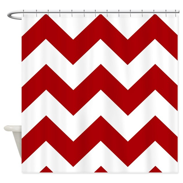 Red And White Chevron Shower Curtain By IRetro