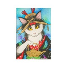 Tea Geisha Kitty Rectangle Magnet