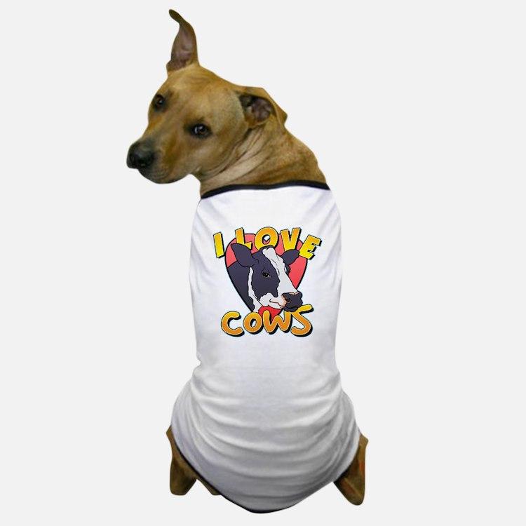 I Love Cows Portrait Dog T-Shirt