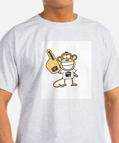 WYOMING MONKEY Ash Grey T-Shirt