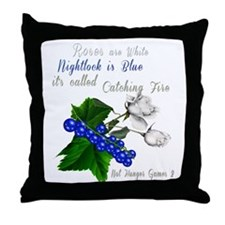 Roses and Nightlock Catching Fire Throw Pillow