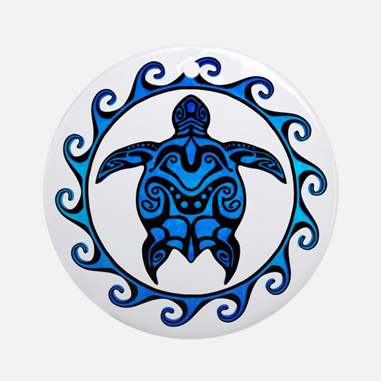 Maori Tribal Blue Turtle Ornament (Round)