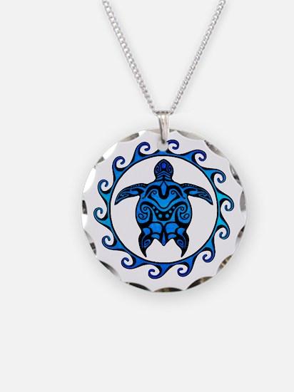 Maori Tribal Blue Turtle Necklace