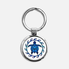 Maori Tribal Blue Turtle Keychains