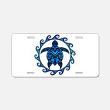 Maori Tribal Blue Turtle Aluminum License Plate