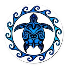 Maori Tribal Blue Turtle Round Car Magnet