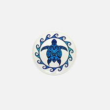 Maori Tribal Blue Turtle Mini Button