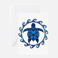 Maori Tribal Blue Turtle Greeting Cards