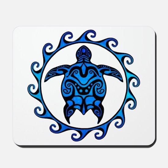 Maori Tribal Blue Turtle Mousepad