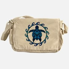 Maori Tribal Blue Turtle Messenger Bag