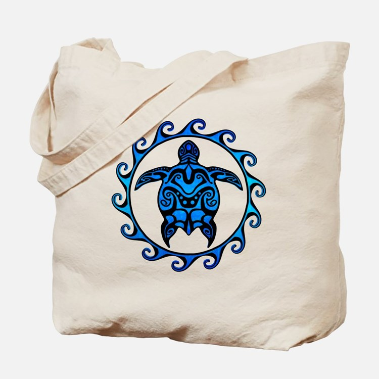 Maori Tribal Blue Turtle Tote Bag