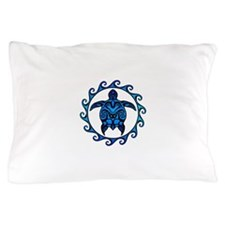Maori Tribal Blue Turtle Pillow Case
