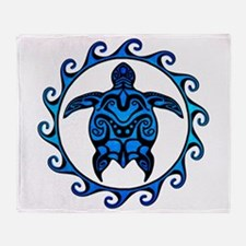 Maori Tribal Blue Turtle Throw Blanket