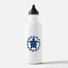 Maori Tribal Blue Turtle Water Bottle