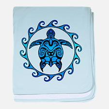 Maori Tribal Blue Turtle baby blanket