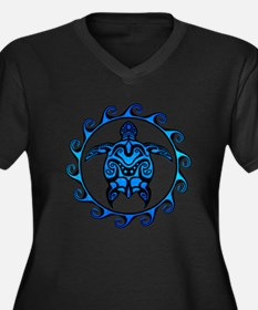 Maori Tribal Blue Turtle Plus Size T-Shirt