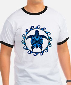 Maori Tribal Blue Turtle T-Shirt