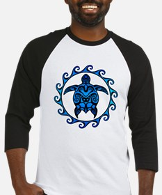 Maori Tribal Blue Turtle Baseball Jersey