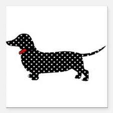"Spot the Dachshund Square Car Magnet 3"" x 3"""