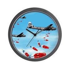 WWII Air Corp B-29 Bombing Pops Wall Clock