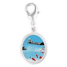 WWII Air Corp B-29 Bombing Pops Silver Oval Charm