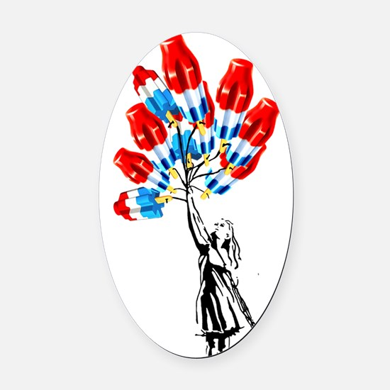 Bomb Pop balloons original artwork Oval Car Magnet