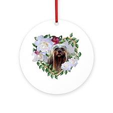 Lhasa Apso Gray Valentine Heart Ornament (Round)