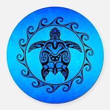 Maori Ocean Blue Turtle Round Car Magnet