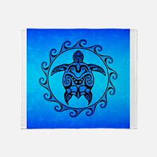 Maori Ocean Blue Turtle Throw Blanket