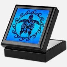 Maori Ocean Blue Turtle Keepsake Box