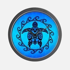 Maori Ocean Blue Turtle Wall Clock
