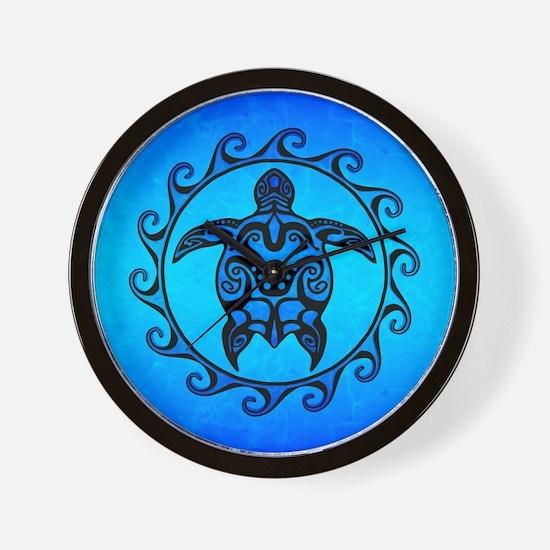 Maori Ocean Blue Turtle Wall Clock