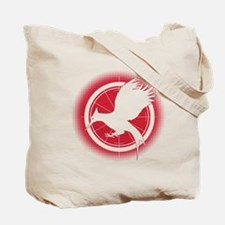Catching Fire Mockingjay Red Halftone Tote Bag