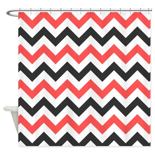 Red And Black Chevron Shower Curtain By InspirationzStore