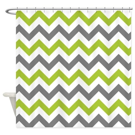 Green and grey chevron shower curtain by inspirationzstore