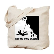 Rock climbing, I Do My Own Stunts Tote Bag