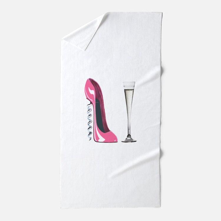 Pink Corkscrew Stiletto and Champagne Flute Beach