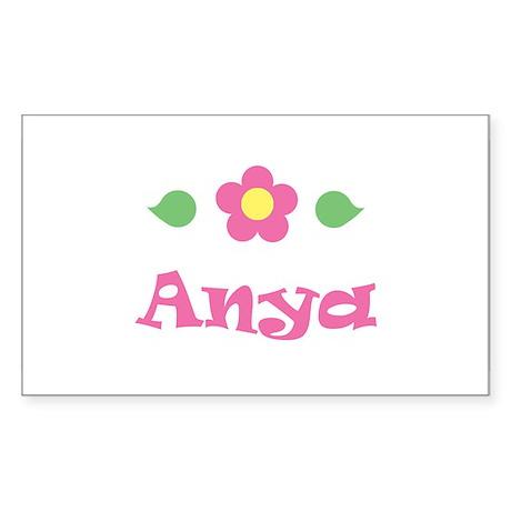 "Pink Daisy - ""Anya"" Rectangle Sticker"