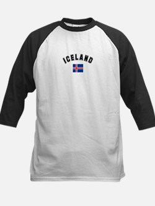 Iceland Flag Kids Baseball Jersey