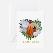 Lhasa Apso Red Valentine Heart Greeting Cards (Pac